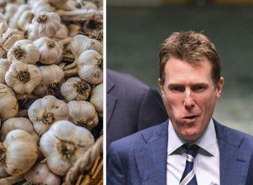 Christian Porter eats raw garlic whole, praises local growers