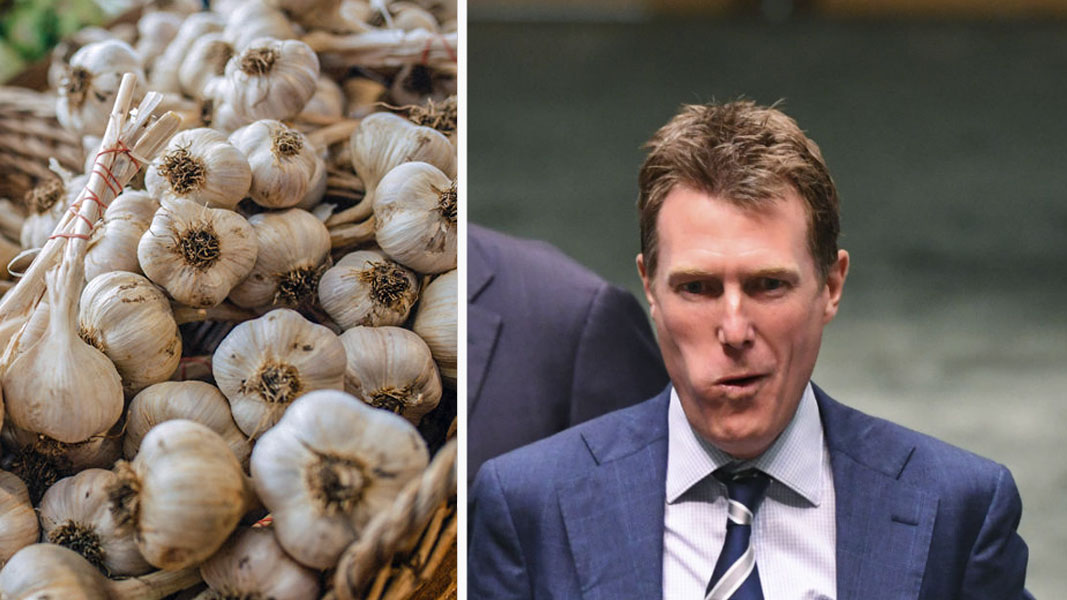 Christian Porter eats raw garlic whole, praises local growers